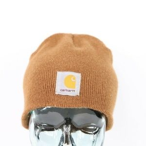 Vintage Carhartt Spell Out Beanie Hat Brown